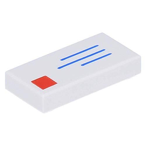 LEGO 10 x Fliese 1 x 2 mit Briefumschlag, Adresse und Briefmarke, Weiß