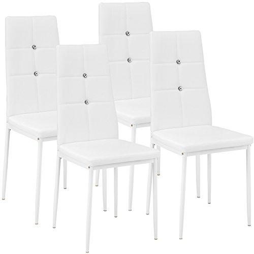 TecTake Set di sedie per sala da pranzo 40x42x97cm | - disponibile in diversi colori e quantità – (6x bianco| no. 402543)