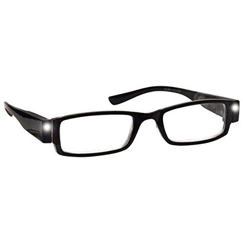 UV Reader Negro Iluminado LED Lectores de Luz Gafas de Lectura Hombres Mujeres Inc Caso UVLR001 Dioptria +1,00