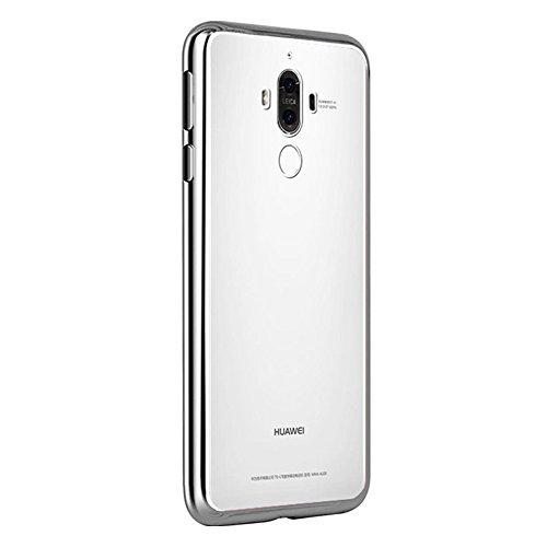 Coque Huawei Mate 9, MSVII® TPU Souple Transparent Bumper Coque Etui Housse Case et Protecteur écran Pour Huawei Mate 9 - Or JY60013 Argent