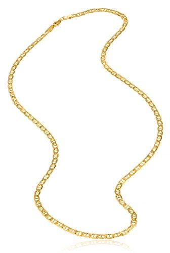 18 Karat / 750 Gold Italienisch Flach Mariner Gelbgold Kette Unisex – Breite 3 mm – Länge wählbar