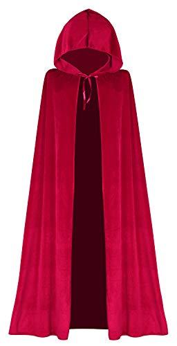 Lelike Rotkäppchen Umhang mit Kapuze Roter Umhang Halloween Umhang Lange aus Samt für Erwachsene