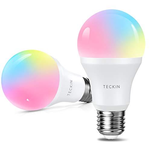 Smart Lampe WLAN LED Alexa Glühbirnen TECKIN E27 Birne RGB Wifi Bulb mit Mehreren Farben Glühbirne 800LM, steuerbar via App dimmbare, kompatibel mit Phone und Google Assistant 2pack [Energieklasse A+]