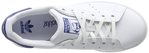adidas Stan Smith, Baskets Basses Garçon Blanc (Ftwr White/Ftwr White/Eqt Blue S16)