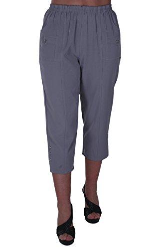 EyeCatch - Verde Damen Capri Crop Hose Flexi Stretch Plus Größen Frauen 3/4 Hosen Capri Crop Hose
