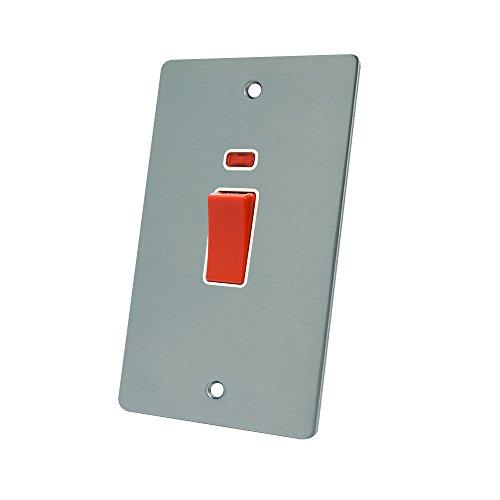 AET fsccswwht 45Objektbereich eine Satin Chrom flach DP Herd Schalter w/NEON Anzeige Teller mit weißem Einsatz (Dimmer Doppel Licht Schalter)