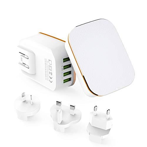 Alitoo Chargeur USB Mural Secteur Adaptateur de Voyage 4-Port Universels  Power Charger avec USA UK AU EU Plug pour Smartphones,Laptop,Tablet,iPad,PCs