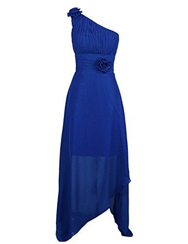 Dressystar Damen One Shoulder Kleider Chiffon Abendkleider Ballkleider Brautjungfern elegante Maxikleider Cocktailkleider Royalblau