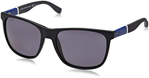 Tommy hilfiger uomo th 1281/s 3h fma 56 occhiali da sole, nero (bk bluewhtgry/grey pz)