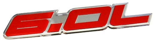 6.0L Liter in RED on SILVER Highly Polished Aluminum Car Truck Engine Swap Nameplate Badge Logo Emblem for Pontiac GTO LS2 G8 L76 GMC Yukon Sierra Pick Up Chevy Tahoe Suburban Truck GMC Vortec V8 Ford Excursion F250 Diesel F350 Fits other Vehicles (Pontiac Logo-emblem)
