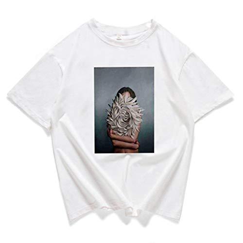 bb93c489efbac Chennpaif - Camiseta de Manga Corta para Mujer de Verano Aesthetics Sexy  Flower Goddess impresión Blusa Harajuku Informal O-Neck T-Shirts Largas  Streetwear ...