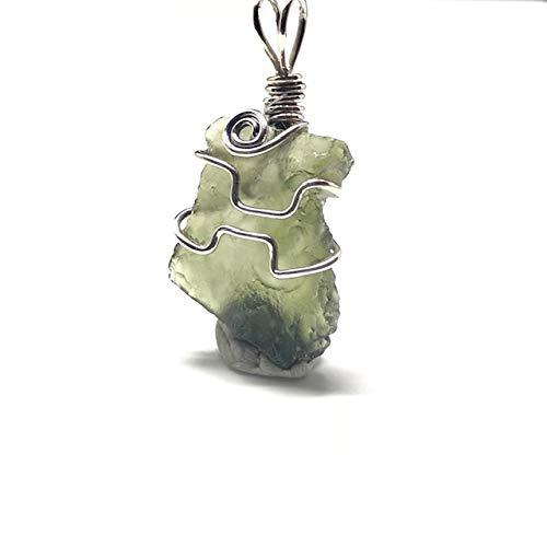 Moldavite - Colgante de alambre de plata de ley
