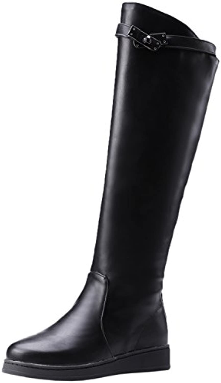 Botas equitacion Mujer Otoño Invierno Correa Negro Planas Caliente Casual Cómodo Botas altas de rodilla De BIGTREE