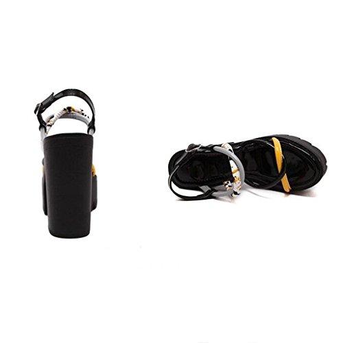 W&LM Signorina Tacchi alti sandali Ruvido Piattaforma impermeabile Ultra Tacchi alti A strisce sandali Black