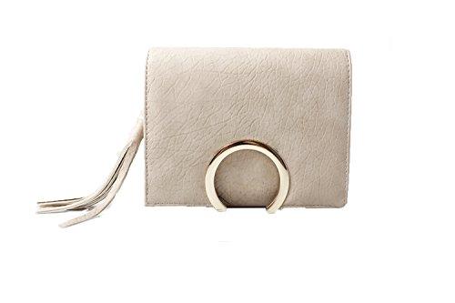 Accessoryo - Damencreme knisterte Effektkastenhandbeutel mit Troddelfranse (Tasche, Tasche Schulter Gucci)