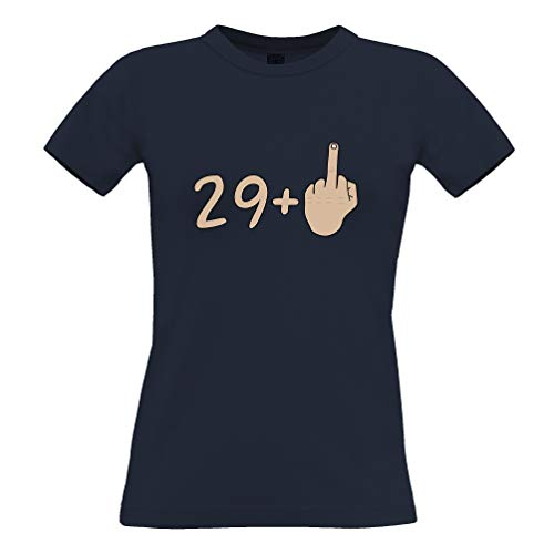 30. Geburtstag Frauen T-Shirt 29 Plus 1 Geste Navy Blue Medium