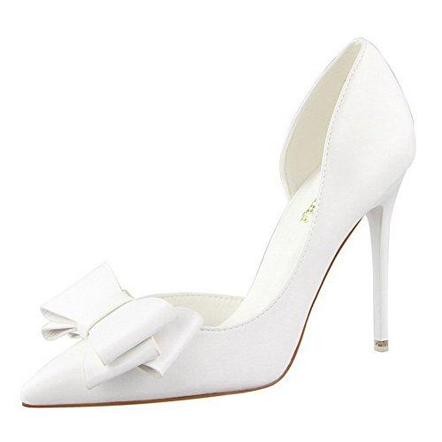 AalarDom Femme Tire Stylet Couleur Unie Pointu Chaussures Légeres Blanc-Pu Cuir