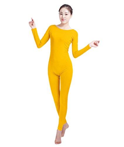 NiSeng Adultes et Enfants Combinaison pour Halloween Costume Carnaval Lycra Corps Zentai Catsuit Dancewear Yoga Jaune 2XL