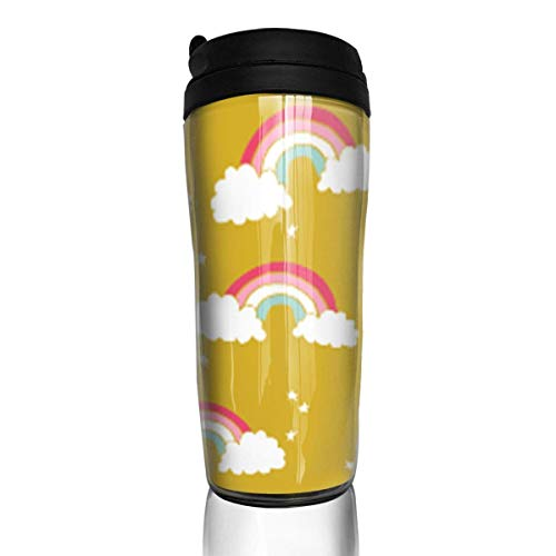 Travel Coffee Mug Rainbows Mustard Yellow 12 Oz Spill Proof Flip Lid Water Bottle Environmental Protection Material ABS