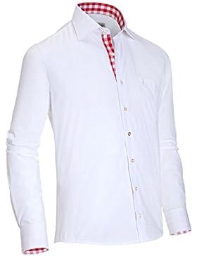 Almsach Herren Slim Fit Trachtenhemd HE100 weiß-rot
