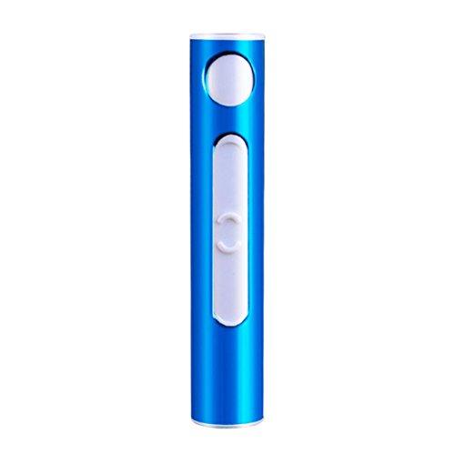 USB recargable electronico sin llama de mechero,STRIR Encendedor de cigarrillo electrónico en arco pulsado Encendedor de cigarro delgado encendedor USB (Azul)