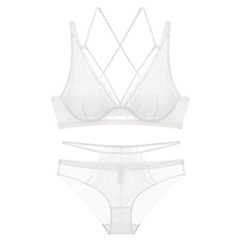 Meijunter Damen Bügel-BH - Damen Büstenhalter Anzug Unterhosen + Unterwäsche Spitze Bestickte Unterwäsche -