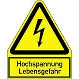 Schild Hochspannung Lebensgefahr 24,4x20cm sl Alu gemäß ASR A1.3/BGV A8/DIN 4844