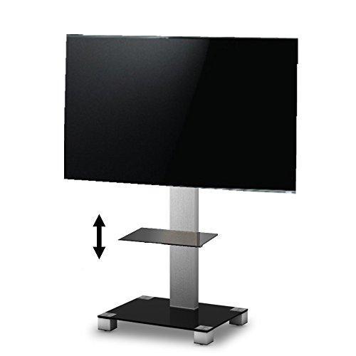 SONOROUS PL-2509 NG - 116 cm großer Standfuß für Fernseher bis 50 Zoll mit höhenverstellbarem Regal. Schwarzes Glas/graues Gestell