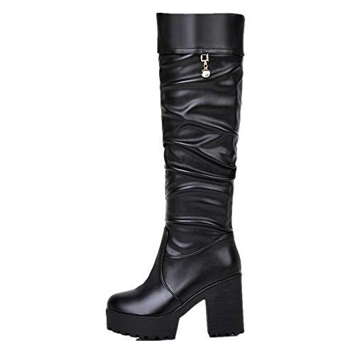SHANGWU Frauen Damen Biker Kniehohe Stiefel/Plattform Block Chunky Heels Stiefel Strass Glatte PU Stiefel Herbst Und Winter Warme Rutschfeste Mode Stiefel (Farbe : Schwarz, Größe : 35)
