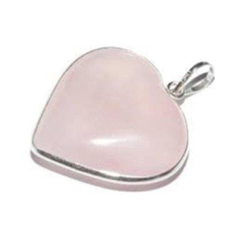 Corazón colgante de cuarzo rosa 3cm con plata