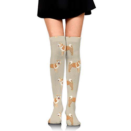 Knee High Socks Akita Standing Dog Dog, Dogs, Dog Breed Akita Dog Tan 23.6 Inchs(60cm) Compression Sock Stockings For Women/Girls - Tan Womens Shorts