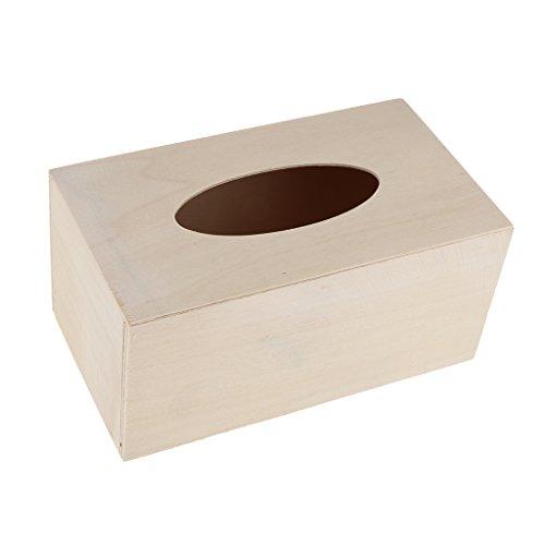 Sharplace Bemalbarer unbehandelter Kosmetikbox Taschentuchbox Kosmetik Tücherbox Tissue Spender für Kinder DIY Basteln - Unfinished Handwerk Box Holz