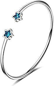 Sukkhi Crystals from Swarovski Platinum Plated Star Kada for Women and Girls (K80971)
