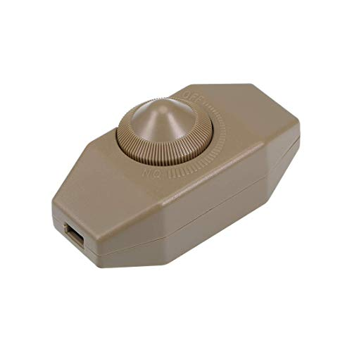 ZCHXD Rotary Cord Switch AC 250V 2A Slide Control Lamp Dimmer 100-Watt Brown -