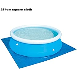 zezego Protecteur de Plancher de Piscine, Couverture de Piscine Pliante pour Tapis de Sol Gonflable pour piscines Hors Terre Rondes (N'inclut Pas la Piscine)