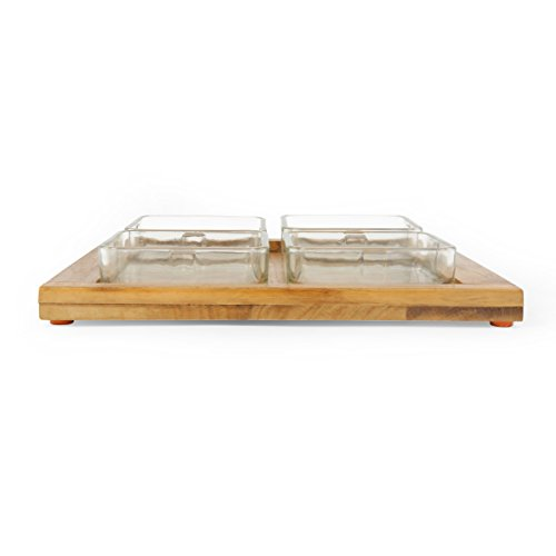 @home by Nilkamal Set of 4 Glass Dishes with Bamboo Tray  available at amazon for Rs.513