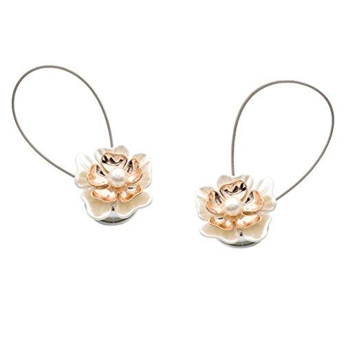 Kesheng Abrazaderas para Cortina Magnéticas Alzapaños de Cortina con Imán con Hebilla del Diseño Flor Un Par