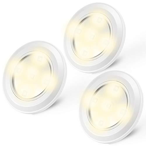 Kohree Spot LED Autocollant Blanc Chaud Lampe de Placard Spot Adhésive sans Fil Alimenté par Piles...