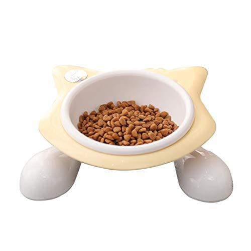 Katze Hundenäpfe, Anti-Rutsch-Katzenfutterschale/Katzenfutterschale/Katzenwasserschale, Kleintierfutterautomat, Für Katzenwelpen, Rosa, Gelb (Farbe : Gelb) -