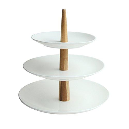 3 plateaux Plateau en céramique en bambou Plaque plate Plaque de gâteau Plaque de dessert