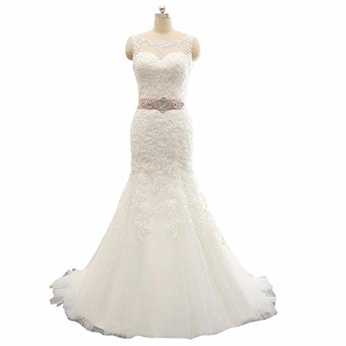 Changjie Damen Meerjungfrau SpitzeApplique Hochzeitskleider Brautkleid With Crystal belt