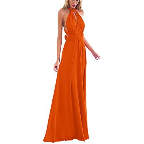 Damen Frauen Multi-tragen Kreuz Halfter Abendkleid Brautjungfer Langes Kleid Multiway-Kleid V-Ausschnitt Rückenfrei Maxikleid Sommerkleider Strandkleid Cocktailkleid Partykleid Orange 36