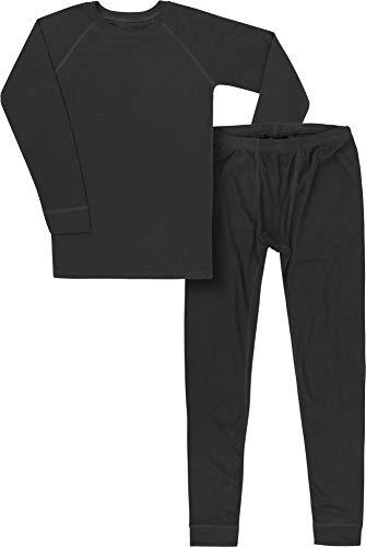 normani Kinder Kids Thermo-Unterwäsche Set (Oberteil + Hose) für Jungen und Mädchen aus Quick-Dry-Funktionsmaterial Thermoaktiv (ÖkoTex100) Farbe Schwarz Größe XL/158-164