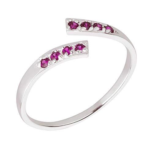 FIVE-D Ring Zehenring Kristalle Grösse einstellbar 925 Sterling Silber im Schmucketui (Fuchsia)