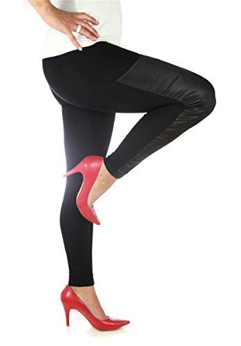 Sexy Damen Leggings Schwarz mit Lackpatches PU Kunst-Leder, Größe S - M Jeggings wetlook DOU-01