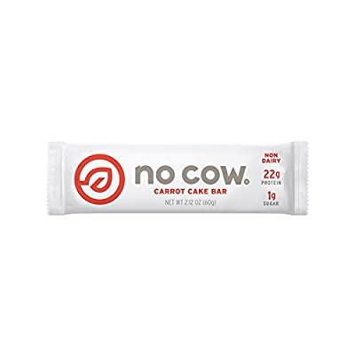 No Cow Protein Bar, Carrot Cake, 20g Plant Based Protein, Low Sugar, Dairy Free, Gluten Free, Vegan, 12 Count from No Cow