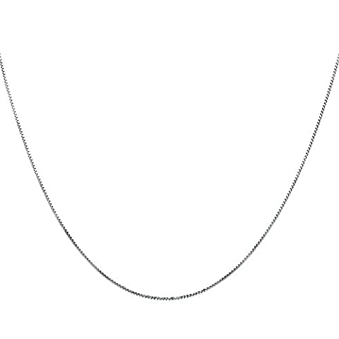 Timoo 925 Sterling Silver 0.8mm Box Chain Super Thin Strong Italian Crafted Necklace 18 inches