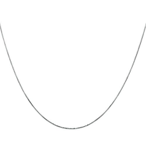Timoo 925 Sterlingsilber Damen Halskette Kette Italien Kastenkette 0.8 mm Breite - Verschiedene Längen: 40 45 50 55 60 cm