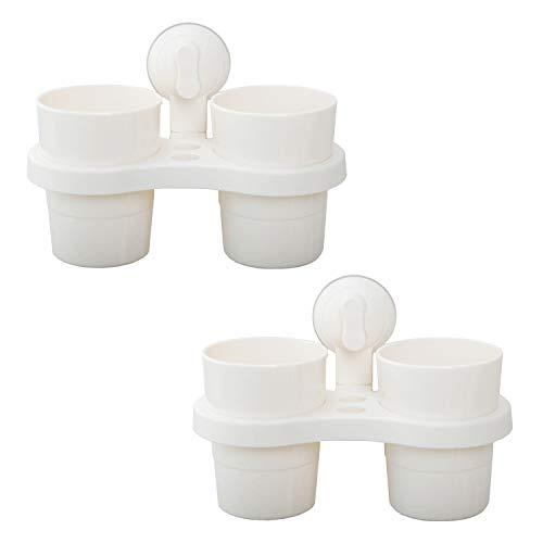 LIKERAINY Kunststoff Zahnbürstenhalter und Zahnputzbecher Halter mit Saugnapf für Badezimmer Weiß 2 Set
