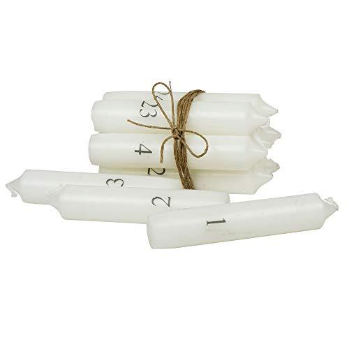 IB Laursen - Kerzen Adventskalender - 1-24 - weiß mit grauen Zahlen